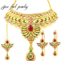 Luxury Indian kundan Gold Plated Jewelry Sets Red Zircon Attractive Necklace Choker 3Pcs Bridal Jewelry Sets For Women Party