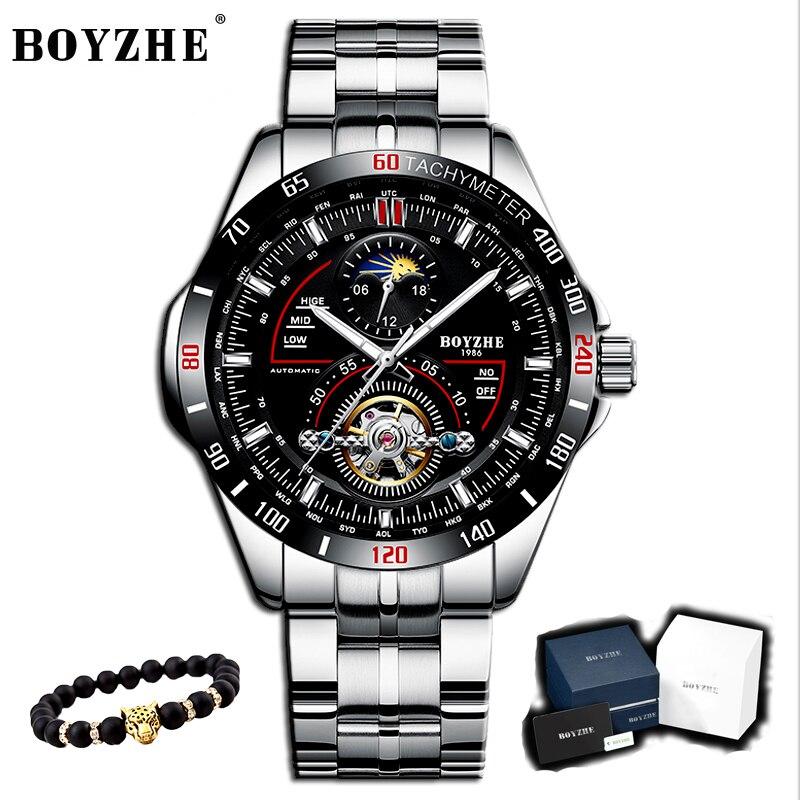 BOYZHE montre homme de luxe relogio masculino montre mécanique décontracté mode étanche montre sport en acier inoxydable montre homme