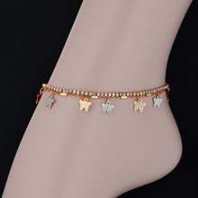 Butterfly Charms Anklet Foot Jewelry Gold Colot Pave Cubic Zirconia Anklets Leg Tennis Chain Bracelet For Women(China)
