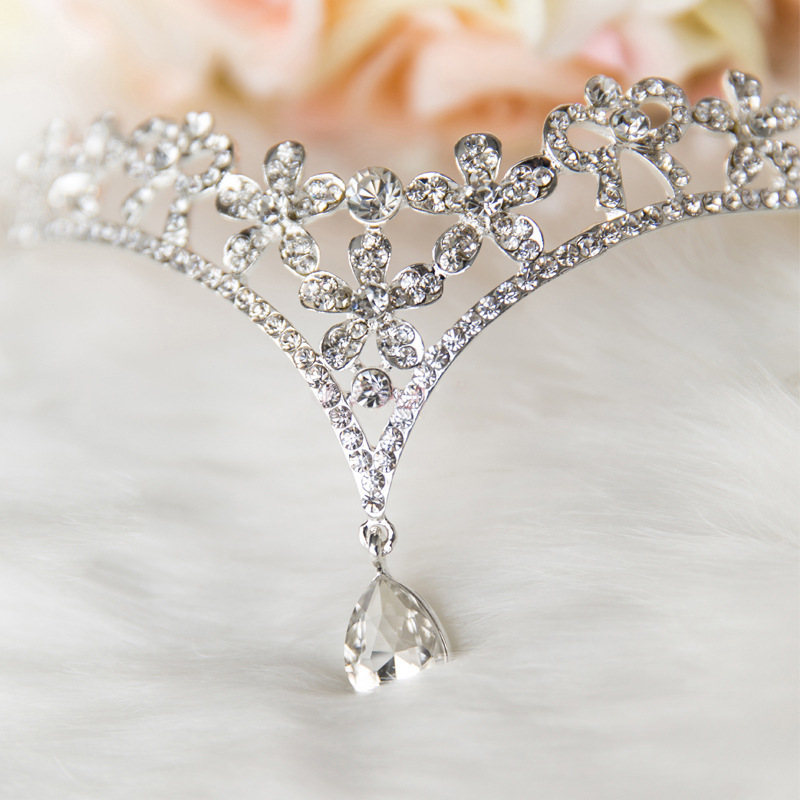 Heart Crystal Flower Forehead Tikka Indian Hair Jewelry Silver Rhinestone Bridal Wedding Bride Hair Crown Head Accessories