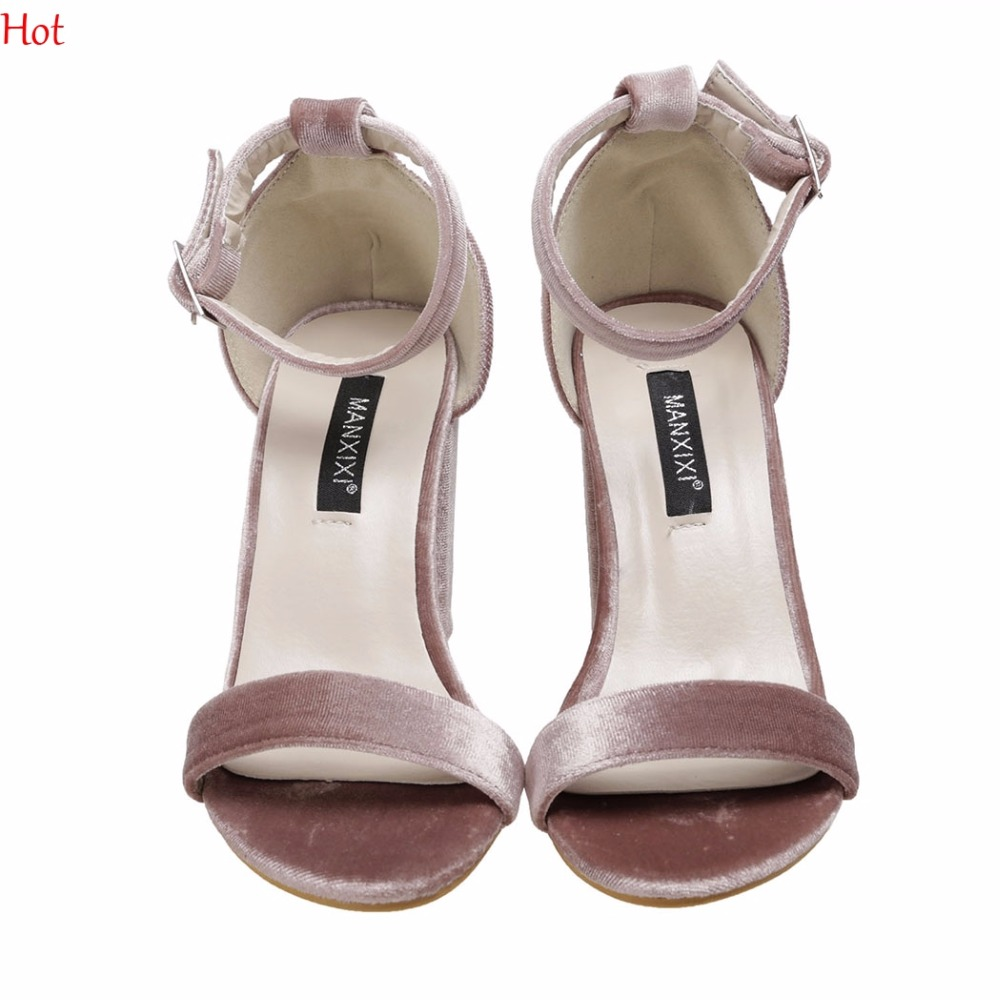 Sexy High Heels Women Sandals Open Toe Velvet Sandals Female Thick Heel Platform Summer Shoes Solid Color Ladies Party Sandals  enmayla flowers wedges heels platform sandals women open toe high heels shoes woman solid color ladies sandals female shoes