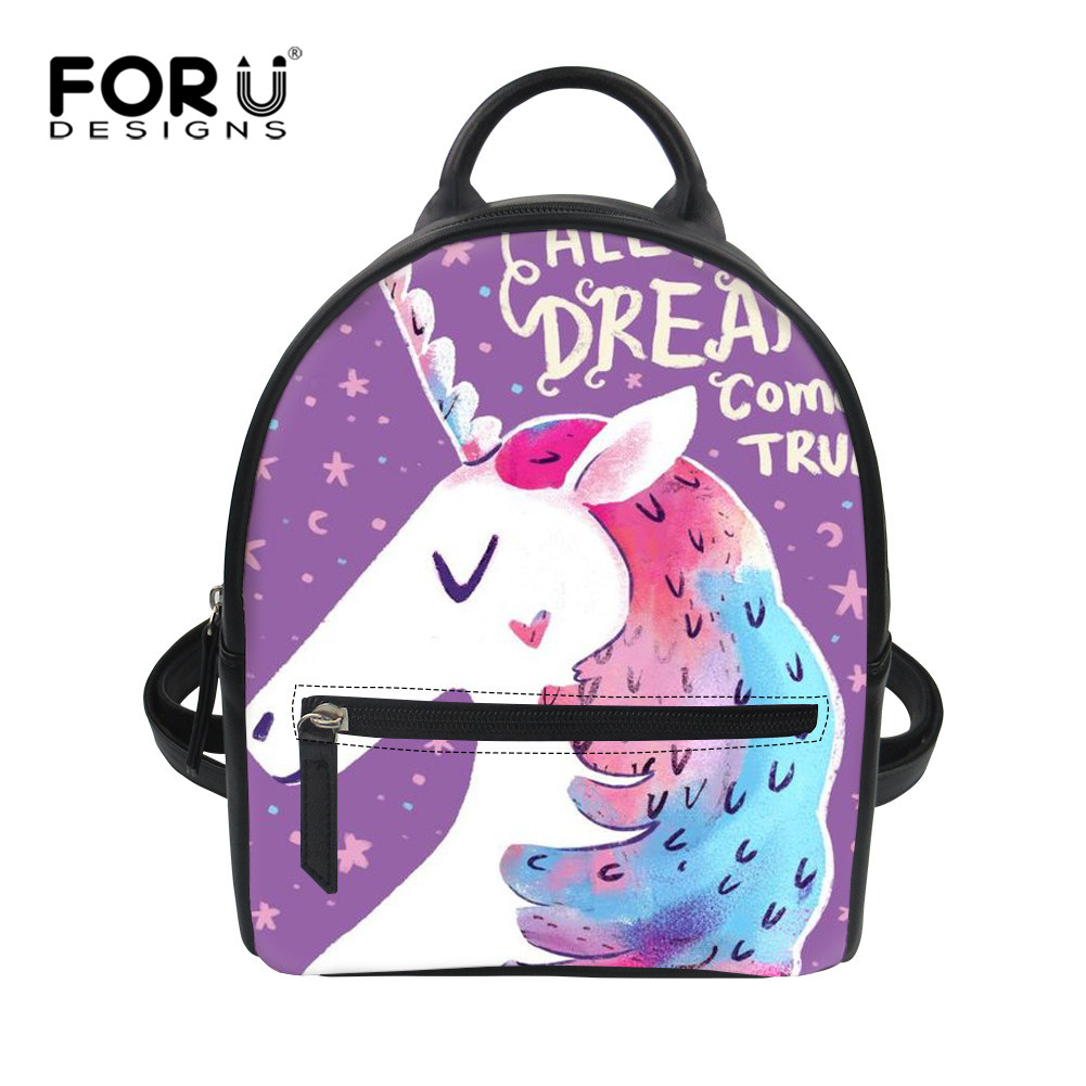 FORUDESIGNS 3D Unicorn Printing School Backpack for Student Woman PU Waterproof Rainbow Unicorn Book Bags for Daily Pack