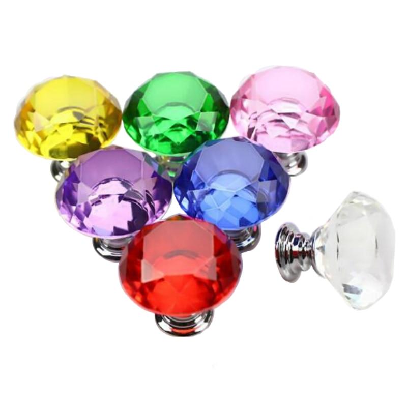 Drawer Cabinet Knobs and Pull Handles Kitchen Door Handles Wardrobe Hardware 30mm Diamond Shape Crystal Glass