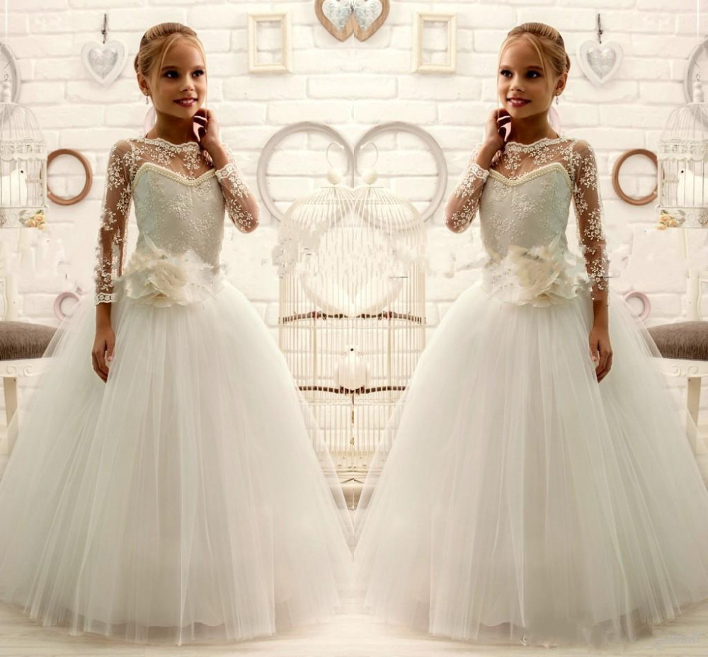 Hot Sale White Ivory Lace Pearls Flower Girls Dresses 2017 Ball Gown Ankle Length Girls First Communion Dress Princess Dress