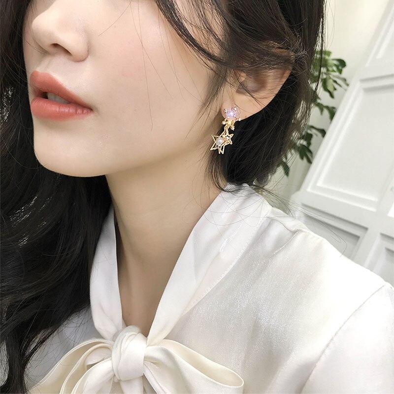 Korean Style 3D Pentacle Star Earrings for Women Gold Crystal Pearl Stud Earrings Party Statement Earings Fashion Jewelry 2019 in Stud Earrings from Jewelry Accessories