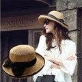 2016 Nuevo Sombrero de Paja Arco Grande Sombreros de Moda de Verano para Las Mujeres encabezamiento Paille Plegable Del Borde Ancho Floppy Beach Sun Cap Sunhat Del Verano