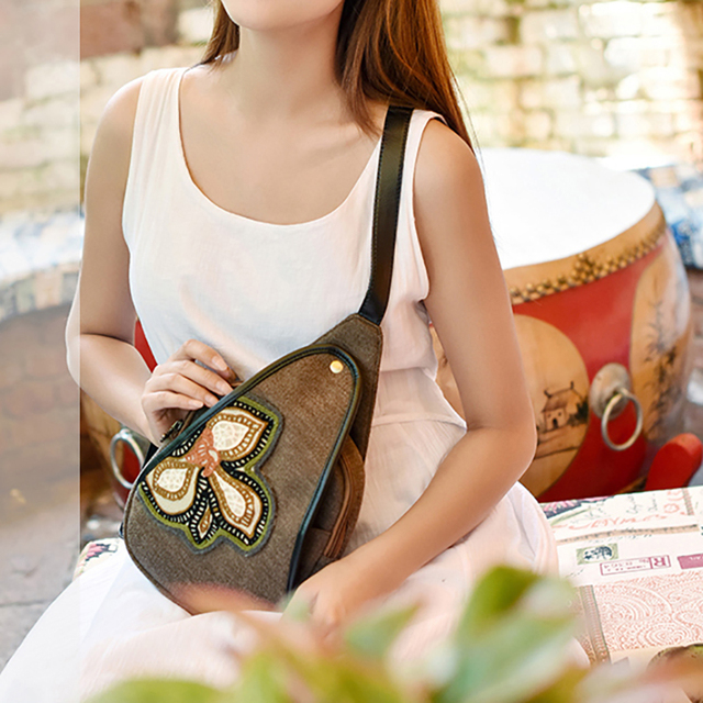 Women Brand Designer Embroidery Chest Bag National Style Handmade Clutch Luxury Girl Gift Unique Handbags Lady Shoulder Tote