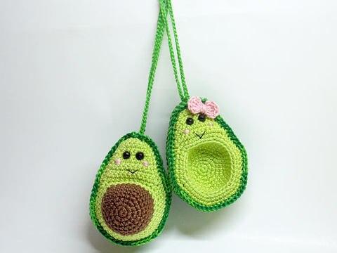 croche brinquedos amigurumi abacate
