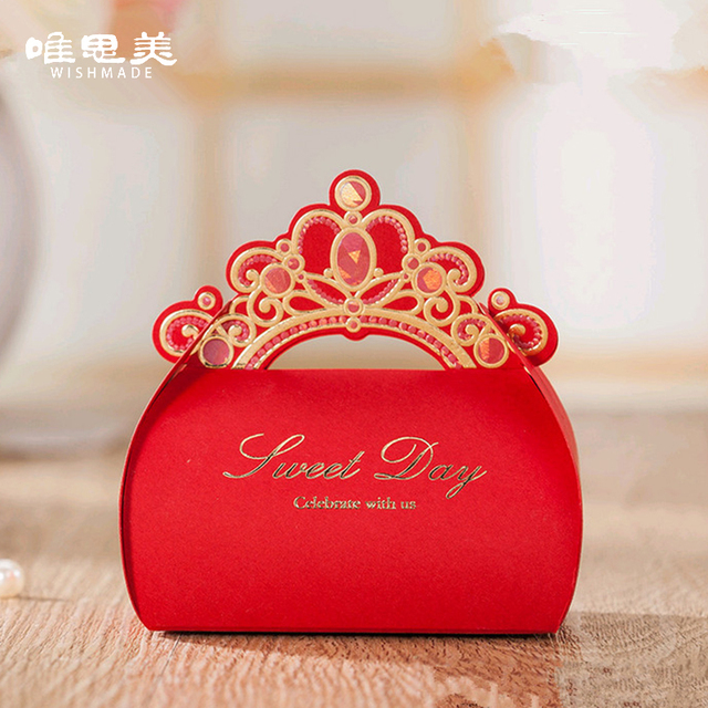 Red 12pcs Lot Gold Foil Crown Shiny Candy Box Wedding Invitation