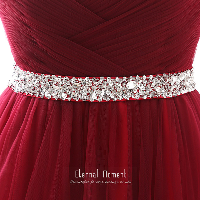 Online Shop Eternal Moment Burgundy A Line Evening Dresses Long ...