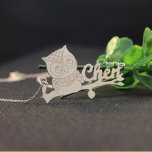 Personalized Engraved Name Silver Necklace with Owl 925 Solid Silver Custom Name Animal Necklace Women Christmas Gift