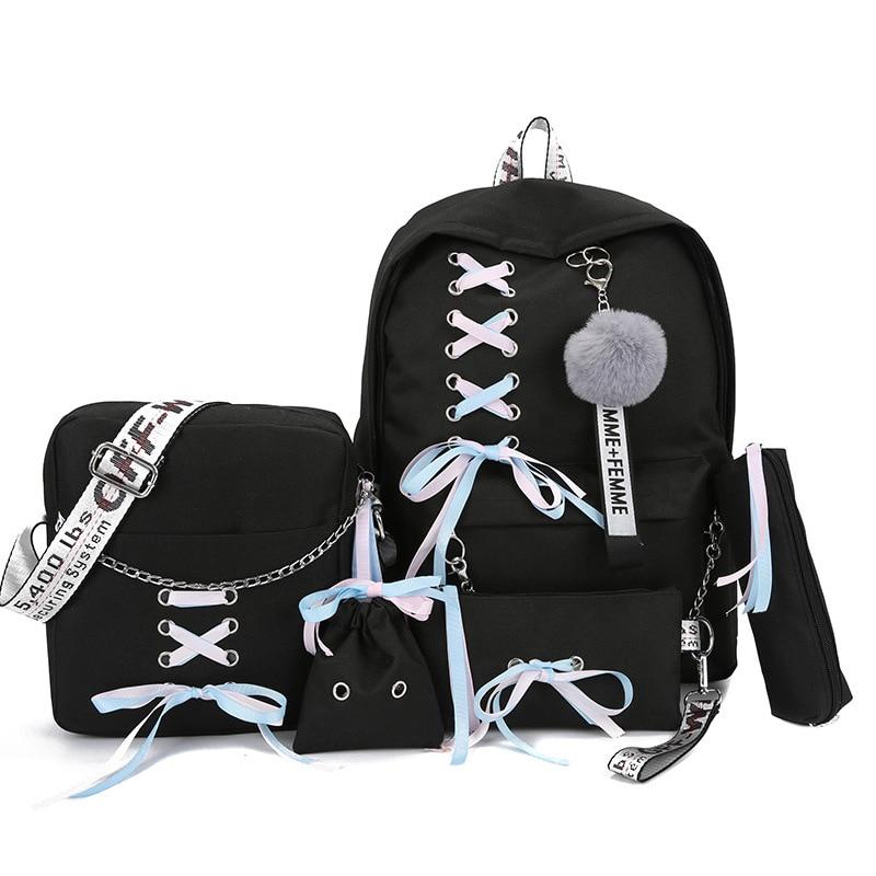School Backpacks Women School Bag For Teenager Girl Rucksack 5pcs/set Women Travel Backpack Moclila Shoulder Bag WBS745-2