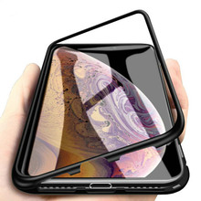 HKGK 360 Magnetic Adsorption Case for iPhone XR XS MAX X 8 7 Plus + Tempered Glass Magnet Back Cover for iPhone 6 S Plus Cases magnetic adsorption case for iphone x xs max 10 8 7 6 s plus coque tempered glass magnet back cover for iphone xr xs max fundas