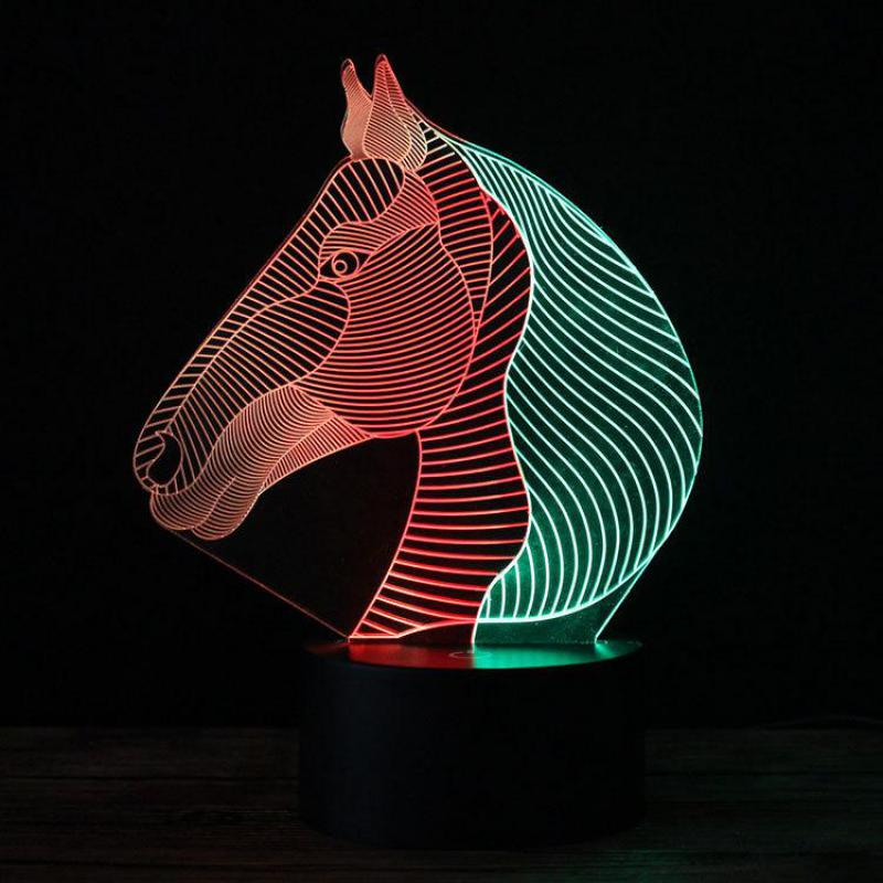 Acrylic Glass 7 Colors Changing Animal Horse LED Nightlights 3D Light LED Desk Table Lamp USB 5V Lamp Home Decoration Kids Gift
