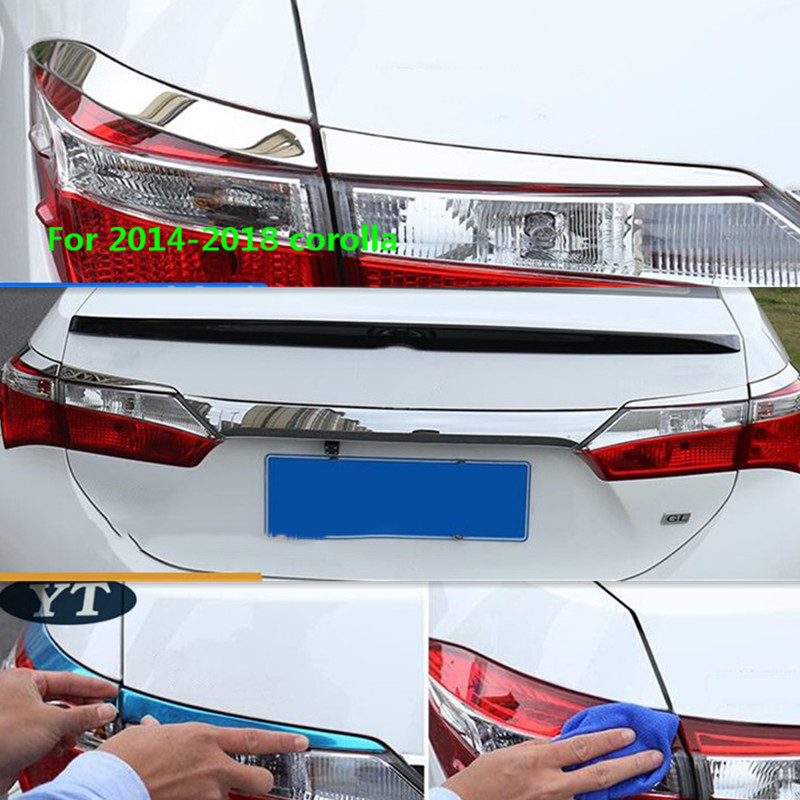 Chrome Tail Lights Rear Lamp Top Edge Cover Trim 4PCS For Toyota Corolla 2014-18