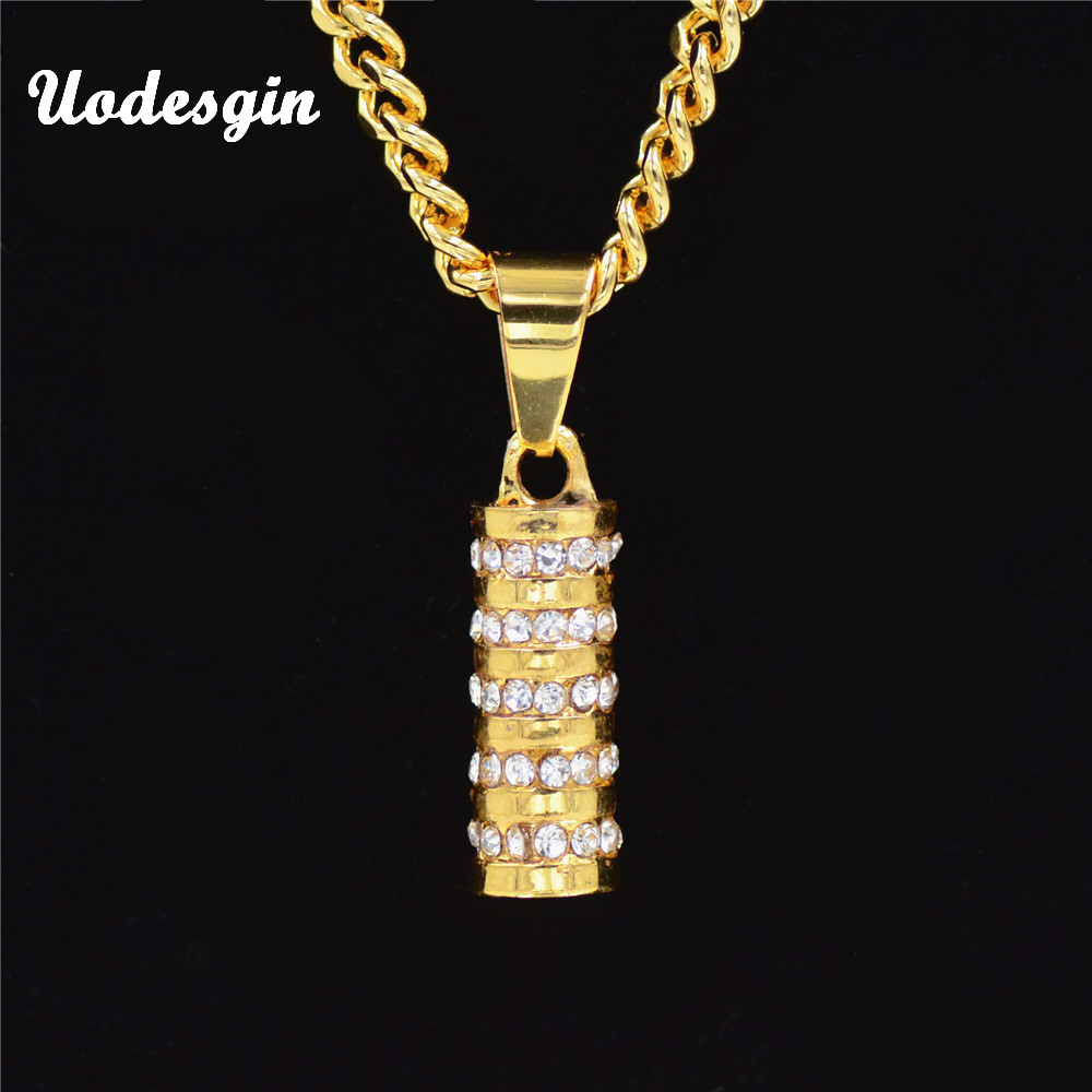 Uodesign Golden Bling Sparkling Pillars Short Pendants Necklaces Men Women  Charm Hip Hop Cylinder Chains Rapper Jewelry Gifts 79e0eefe7