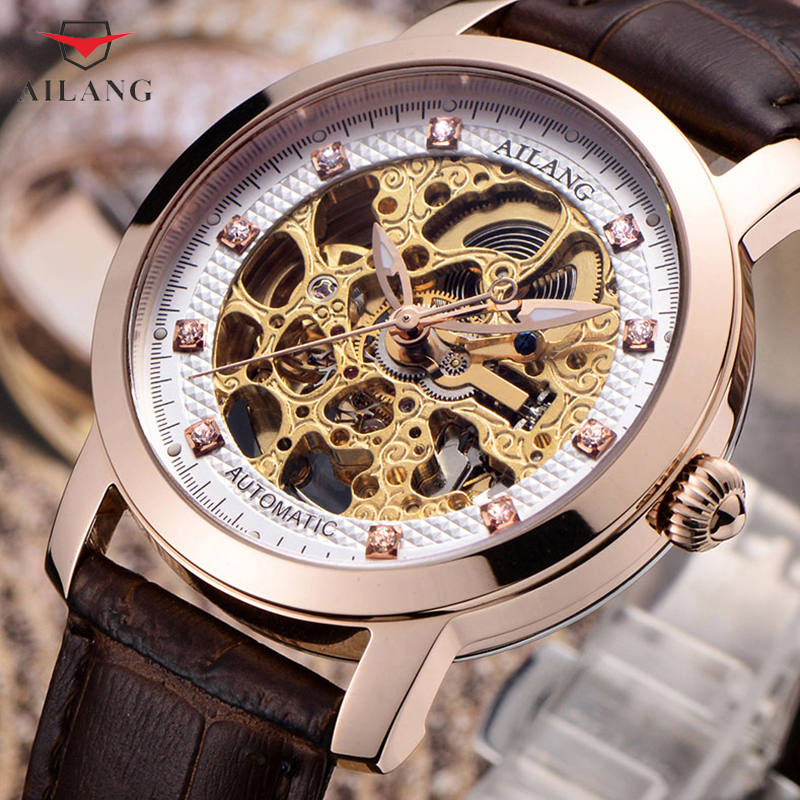 Mechanical Watches Special Section Cool Skeleton Men Watches Mechanical Self-winding Real Leather Wrist Watch Luxury Crystals Dress Watch Hollow Automatic Relogios The Latest Fashion Watches