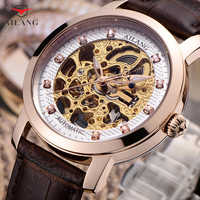 Cool Skeleton Men Watches Mechanical Self-winding Real Leather Wrist watch Luxury Crystals Dress Watch Hollow Automatic Relogios