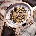 Kühle Skeleton Männer Uhren Mechanische Selbst-wicklung Echt Leder armbanduhr Luxus Kristalle Kleid Uhr Hohl Automatische Relogios
