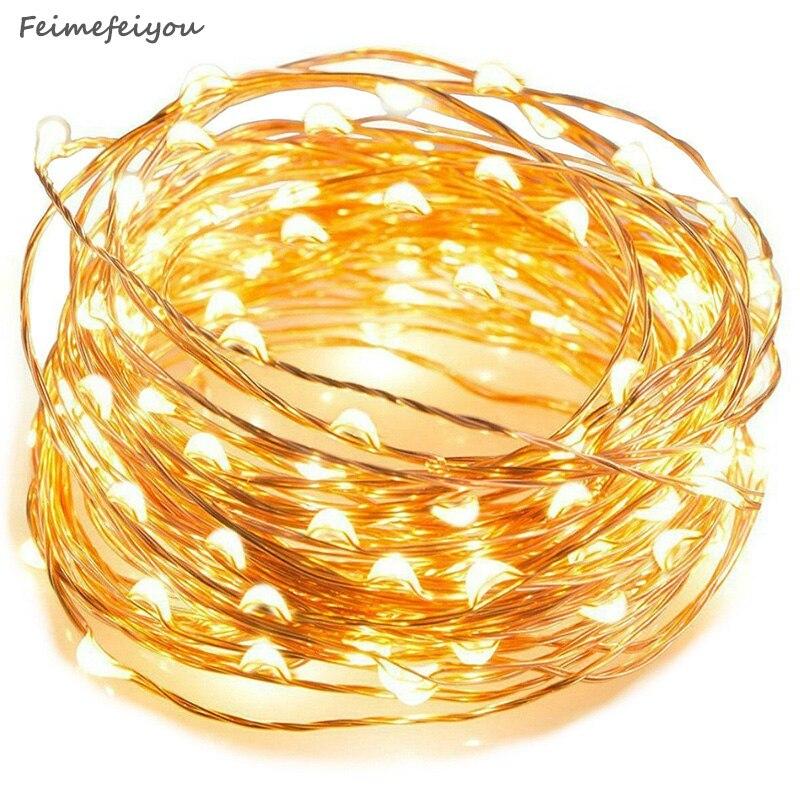 Feimefeiyou 50 100 LED yıldızlı işık dize peri Garland pil gücü bakır tel ışıkları parti noel düğün için 5 renkler