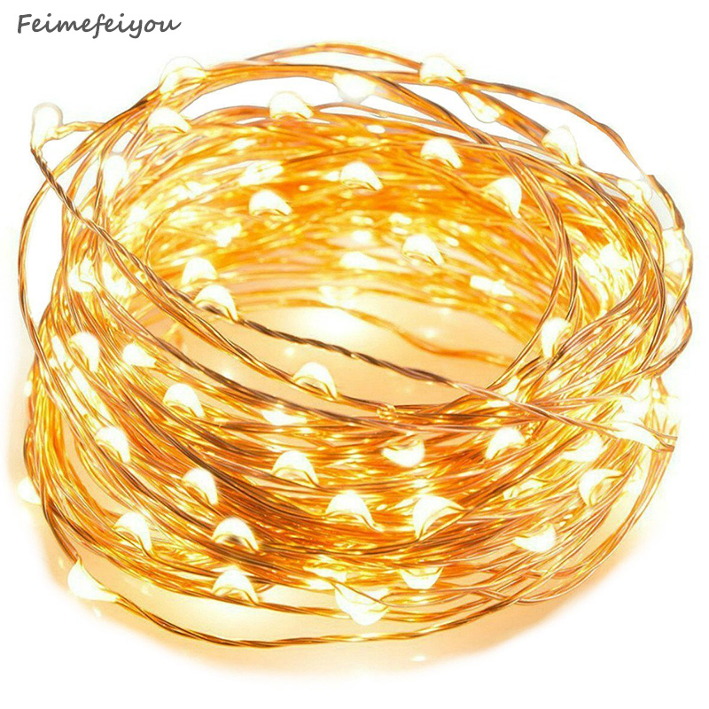 Feimefeiyou 50 100 led luz estrelada corda de fadas guirlanda bateria energia fio cobre luzes para festa natal casamento 5 cores