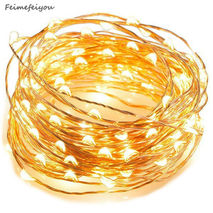 Feimefeiyou 50 100 LED Outdoor Light String Fairy Garland Battery Power Copper Wire Lights For Party Christmas Wedding 5 Colors(China)