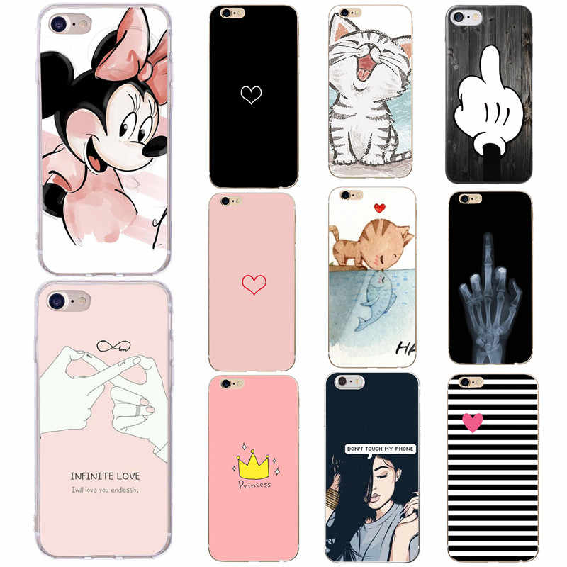 Phone Case For iPhone 6 6s 7 8 Plus X XS 5 S SE Fashion Cartoon Flower Love Heart Soft TPU For iPhone X Case Back Cover