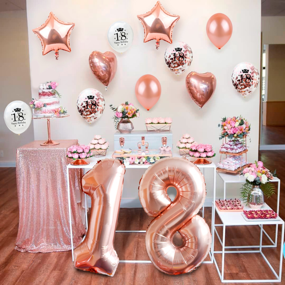 Qifu Sweet 18 Rose Gold Party Table Decoration Happy Birthday Party Decorations Kids Adult 18th Birthday Party Favors Supplies Party Diy Decorations Aliexpress