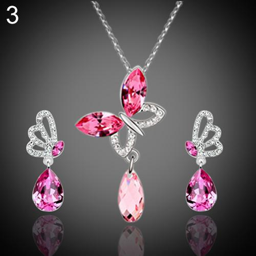 Women Wedding Party Cocktail Crystal Butterfly Cubic Zirconia Necklace Stud Earrings Jewelry Set Costume Jewelry