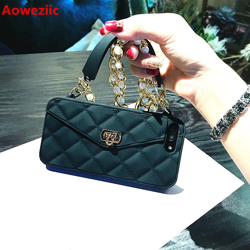 Aoweziic New tide brand South Korea For iPhone6s mobile phone shell silicone diagonal lanyard bag 8Plus 7Plus X chain Card bag