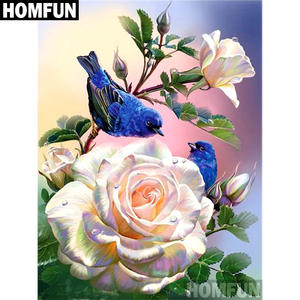 HOMFUN Full SquareRound Drill 5D DIY Diamond Painting Rose Bird Embroidery Cross Stitch 5D Home Decor Gift A06877