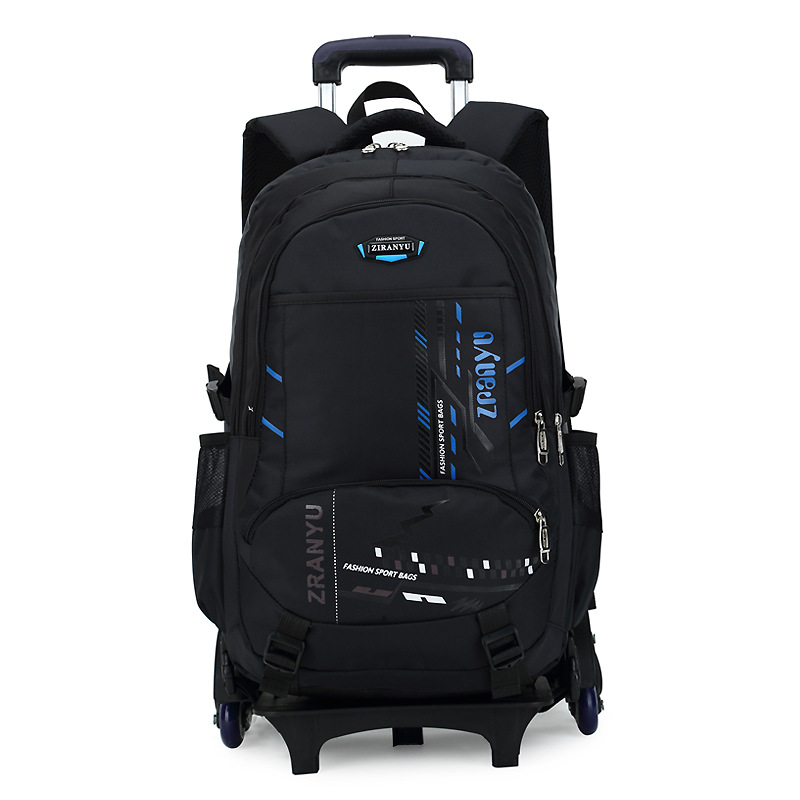 Latest Removable Children School Bags With Wheels Stairs Kids Big boy Trolley Schoolbag Luggage Book Bags Wheeled Backpack-in School Bags from Luggage & Bags    1