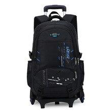 Neueste Abnehmbare Kinder Schultaschen Mit Räder Treppe Kinder Großer junge Trolley Schultasche Gepäck Buch Taschen Rädern Rucksack