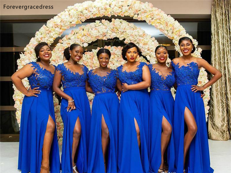 South African Summer Chiffon Lace Bridesmaids Dresses A Line Cap Sleeve Split Long Maid of Honor Gowns Plus Size Custom Made BM0615  79 (7)