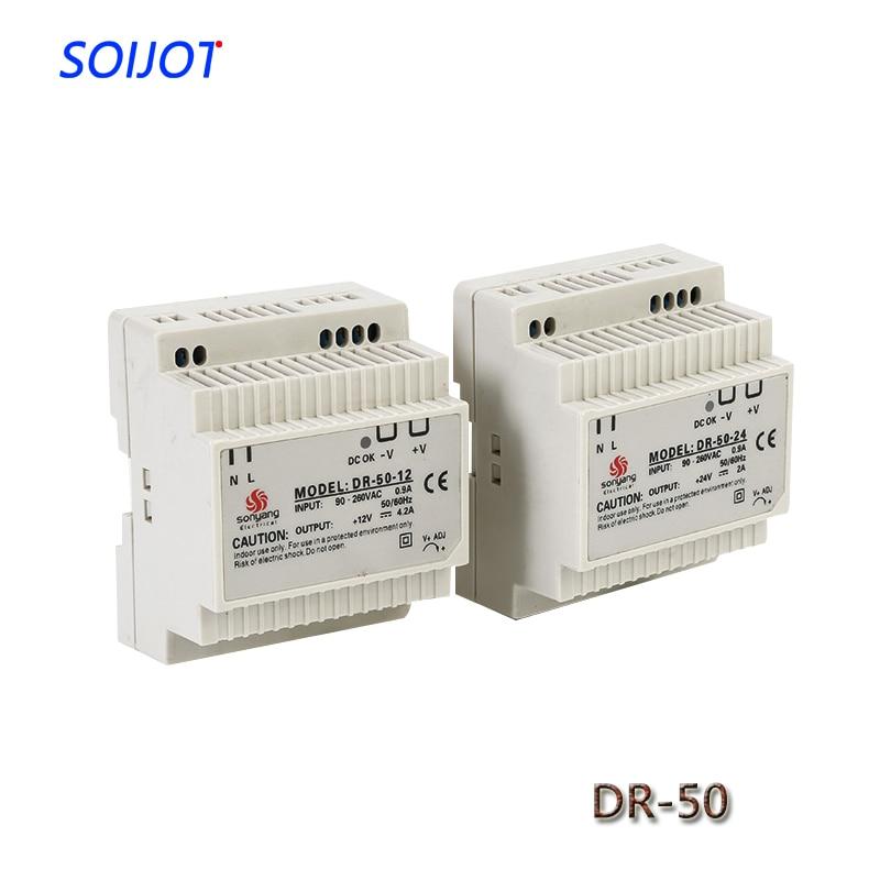 DR 50 Conventional Din Rail Power Supply 50W 12V 4.2A,Switching Power Supply AC 110V/220V Transformer To DC 12V,AC DC Converter