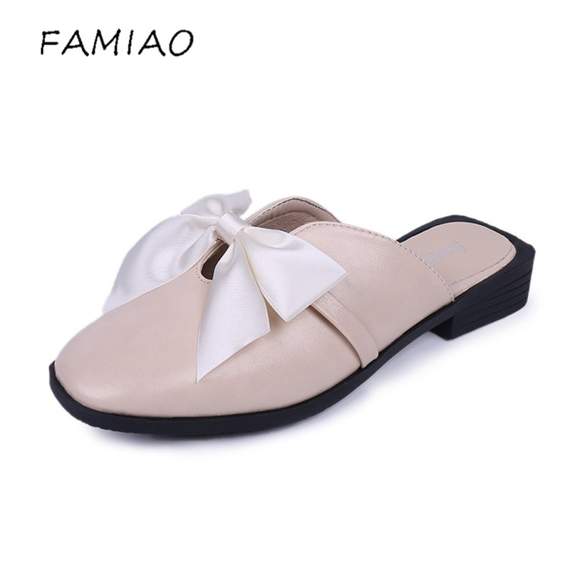 FAMIAO Women Slippers Fashion Bowtie Slip On Flats Pointed Toe Low Heel Flock Summer Shoes Sweet Mules Summer Ladies Footwear cresfimix women cute spring summer slip on flat shoes with pearl female casual street flats lady fashion pointed toe shoes