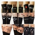 10 Pair/Lot Sexy Women Tights Over Knee High Fake Tattoo Printed Skinny Pantyhose Wholesales
