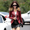 Leather Jacket Women  Motorcycle PU Leather Coat 2016 Autumn Pluse Size Real Fur Collar Leather Clothing Outerwear Jacket  A2466