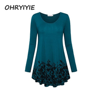 OHRYIYIE Plus Size 5XL Women Printed T Shirt 2018 New Spring Autumn Long Sleeve Casual T