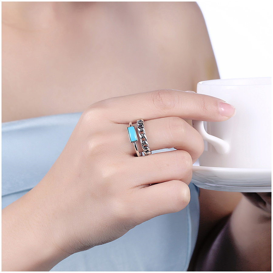 Vintage Turquoise 925 Sterling Silver Women Wedding Bands Rings 2018 ...