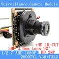 2-МЕГАПИКСЕЛЬНАЯ 1920*1080 AHD CCTV 1080 P мини Модуль Камеры 1/2.7 V30 + T322 2000TVL 3.6 мм 92 градусов камеры наблюдения СОД/BNC кабель