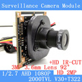 2MP 1920*1080 CCTV AHD 1080 P mini Módulo de Câmera de 1/2.7 V30 + T322 2000TVL 3.6mm câmera de vigilância de 92 graus ODS/BNC cabo
