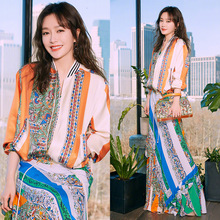 New 2019 with the spring and summer fashion suits female printing jacket national wind dress