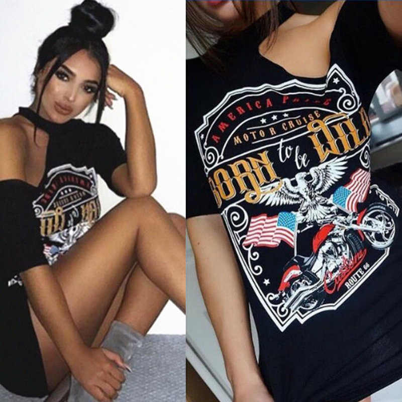 【$4.99 Clearance】Eagle Motorcycle Printing Strapless T Shirt Women