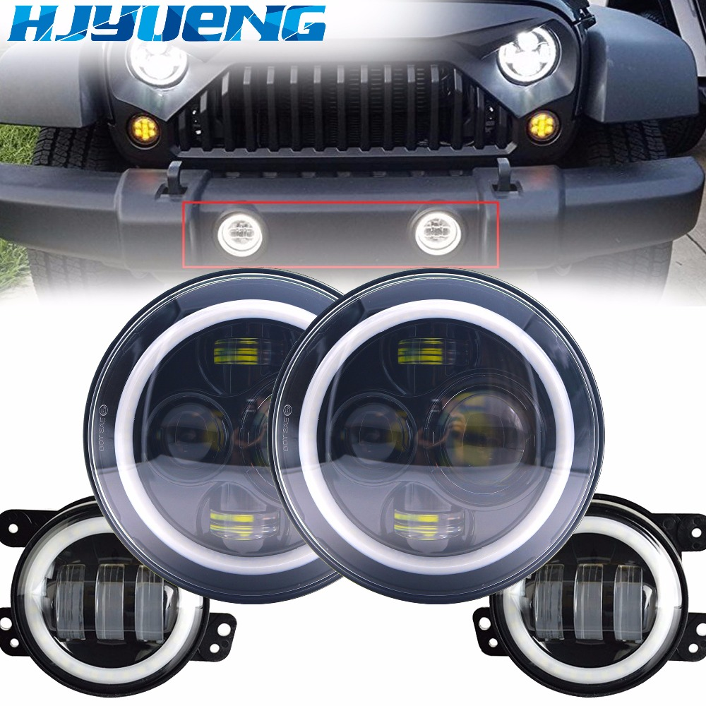 For Jeep Wrangler JK LJ 7inch Daymaker LED Headlights/ White DRL/Amber Turn Signal + 4 inch LED Fog Lights White DRL Halo Ring 7 led halo headlights for jeep wrangler jk jku tj lj rubicon sahara unlimited white drl amber turn signal 4 halo fog light