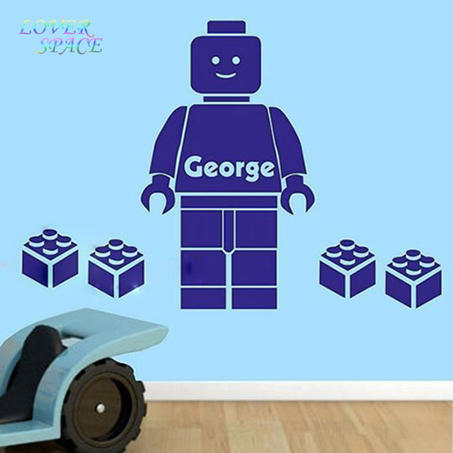 cartoon wall decals 3d lego wall sticker for kids room personalized