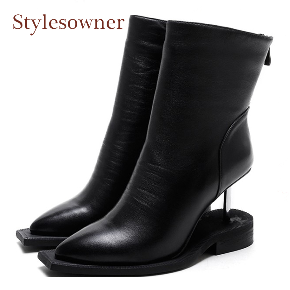 Stylesowner New Style Strange High Heel Ankle Boots for Women Leather Wedge Shoes Woman Pointed Toe Women Pumps Fashion Boots nayiduyun women genuine leather wedge high heel pumps platform creepers round toe slip on casual shoes boots wedge sneakers