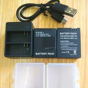 Image 2 - Gopro Hero 3 + Pil 3.7 V AHDBT 301 pil şarj cihazı USB çifte şarj makinesi Pil kutusu GOPRO3 AHDBT302 Eylem kamera aksesuarları
