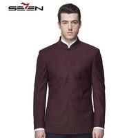 Seven7 Брендовые мужские платье костюм куртка китайский стиль Стенд воротник стойка заказ Блейзер Индивидуальные мужской бордовый пиджак