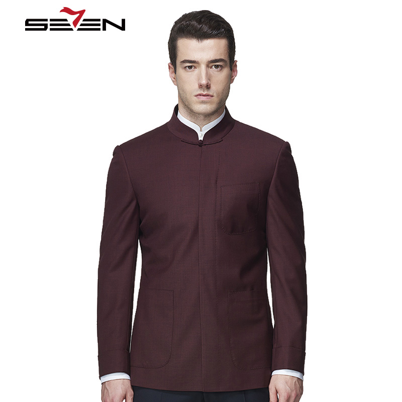 afbc96b960e0 Seven7 Brand Mens Dress Suit Jacket Chinese Style Stand Mandarin Collar  Custom Made Blazer Tailor Made Male Burgundy Suit Jacket